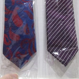 Lot of 2 Mens Tie Neckties Blue Red & Paisley